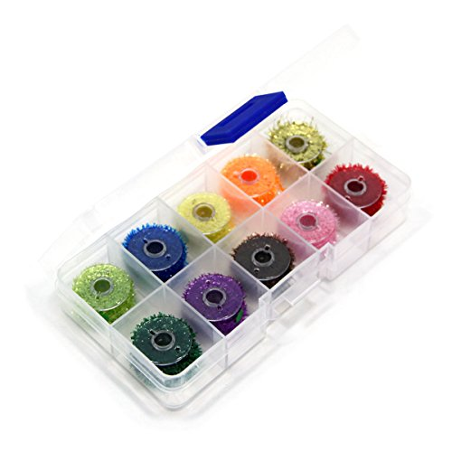 SAMSFX Ice Chenille Fly Tying Materials Flash Cactus Chenille Line Specific Colors for Fly Flies (10 Colors Chenille with Box)