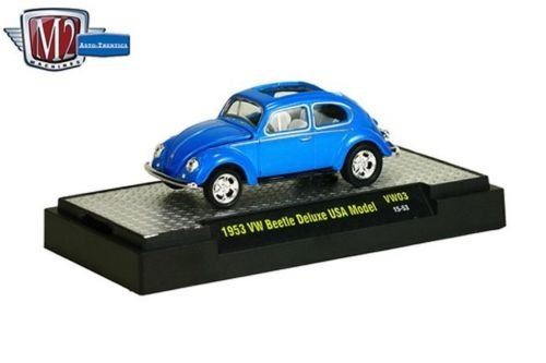 New 1:64 AUTO-THENTICS VOLKSWAGEN SERIES 3 - 1953 Cyanide Blue Pear VW BEETLE DELUXE USA MODEL Diecast Model Car By M2 Machines Beetle Diecast Model