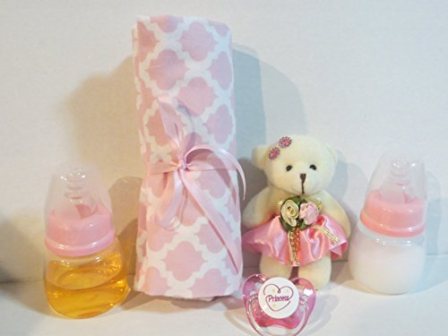 Small 2 Oz Heart Bottle - 2 Reborn Baby Doll Bottles 2oz PINK (Styles Vary) Fake Milk Juice + Bear + Blanket (Designs Vary) + Princess Heart Pacifier + Putty + Instructions OOAK AGES 8 YRS + THIS IS A PROP - NOT A TOY