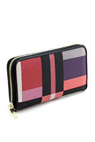 Checkered Saffiano-textured Faux-leather Single Zip Around Wallet Clutch, 8