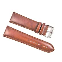 Jewellers Tools Men's 18 MM Genuine English Calf Grain Leather Watch Strap Band Padded Ss Buckle Tan