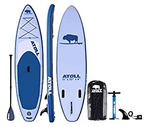 Atoll 11'0 Foot Inflatable Stand up Paddle Board, (6 Inches Thick, 32 inches wide) ISUP, Bravo Hand Pump and 3 Piece Paddle, Travel Backpack