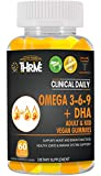 Omega 3 6 9 Fatty Acids DHA with Chia Oil Supplement. Advanced Formula for Heart, Brain, Immune System, Joints, Mood, Eye Health. 60 Vegan Gummies, Lemon and Orange Flavor, Gluten Free. CLINICAL DAILY