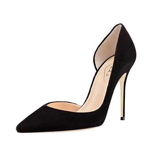 EKS - Zapatos de tacón fino Mujer Negro - Schwarz-Wildleder