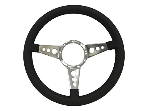 Volante S9 Series - Black Leather Wrapped 9 Bolt Steering Wheel (Wheel Leather Wrapped Steering)
