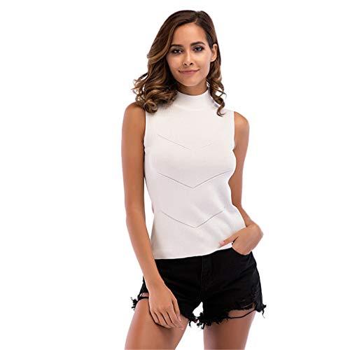 TWGONE Sleeveless Mock Turtleneck Women Plus Size Solid Color Strapless Vest Tank Top Blouse(Medium,White)