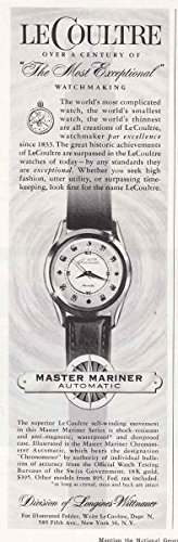 1957 LeCoultre Watch: Longines Master Mariner, Longines Print Ad