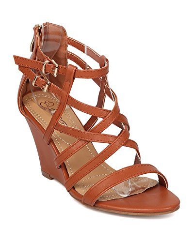 Alrisco Women Strappy Wedge Sandal - Single Sole Wedge Sandal - Summer Dressy Versatile Sandal - HB27 by DbDk Collection Camel Leatherette
