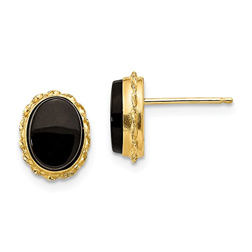 14k Yellow Gold Bezel Black Onyx Post Stud Earrings Fine Jewelry Gifts For Women For Her