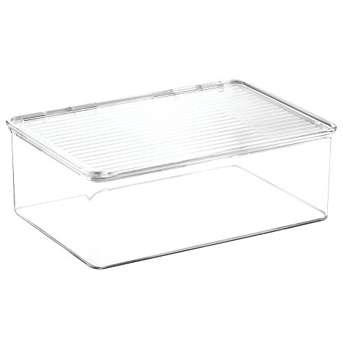 InterDesign Clarity Cosmetic Organizer with Lid for Vanity Cabinet to Hold Makeup, Beauty Products - Clear