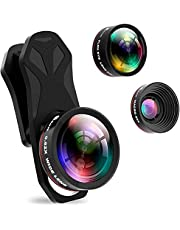 Selvim Phone Camera Lens Kit 3 in 1, 235° Fisheye Lens, 0.62X Wide Angle Lens & 25X Macro Lens, Compatible with iPhone 11 10 8 7 6 6s Plus X XS XR Samsung (3 in 1)