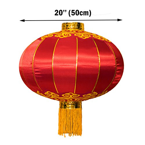 Y-Nut Large Chinese Lantern, Red Traditional Hanging Lamp Shade China New Year Spring Festival Decoration Cloth Lighting (20)