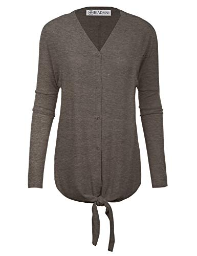 (BIADANI Women's New TR Fabric Tunic with Button and Tie Knot Charcoal Small)