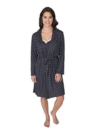 kathy ireland Women's 2 Piece Lace Trim Chemise Nightgown & Belted Wrap Robe Sleepwear Set