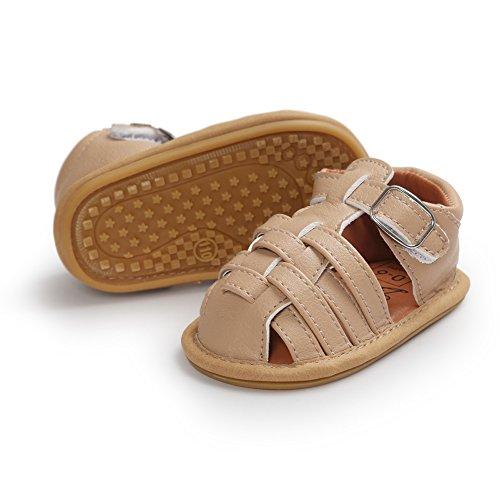 Etrack-Online Baby Sandals - Zapatos primeros pasos de Piel Sintética para niño caqui