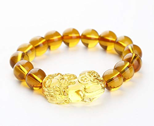 Feng Shui Citrine Gem Stone Wealth Porsperity 12mm Bracelet with Pi Xiu/Pi Yao, Attract Wealth and Good Luck, Deluxe Gift Box Included