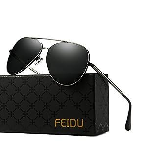 FEIDU Polarized Aviator Sunglasses for Men Driver Sun Glasses Unisex FD9009(Black/Gun)