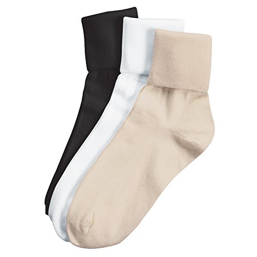 Buster Brown Women's 100% Cotton Socks, Assorted 1, 9, 3-pk