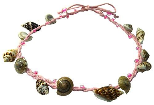 BDJ Handmade Tiny Shells Cotton Cord Anklet Bracelet Free Size (Pink)