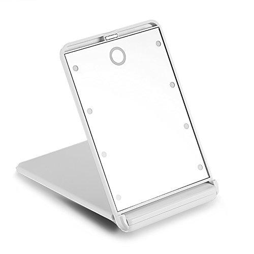 Pocket Makeup Mirror With LED Light (White) - 7
