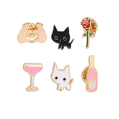 Price comparison product image 12 European and American couple honeymoon suite brooch white cat mug bottle roses heart-shaped drip collar pin