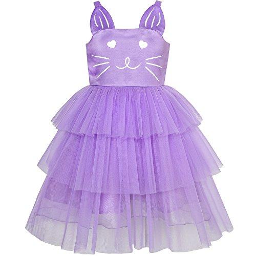 Girls Dress Cat Face Purple Tower Ruffle Dancing Party Size 4