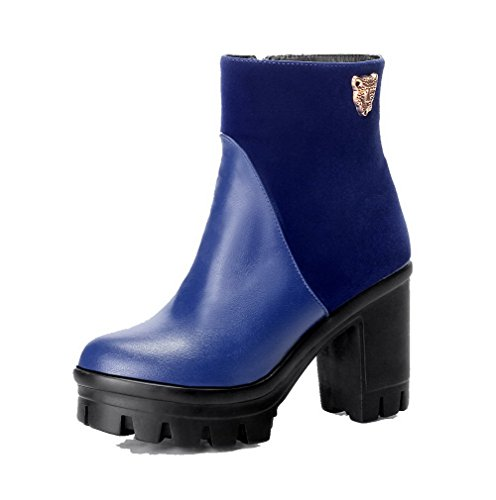 High AgooLar Heels Blue Top Low Materials Women's Blend Closed Boots Solid Round Toe gpwrSYpq