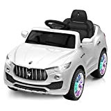 Costzon Kids Ride On Car, Licensed Maserati 6V Battery Powered Vehicle, Parental Remote Control & Manual Modes w/Opening Doors, Swing Function, Bluetooth, USB, MP3, Horn, Music, LED Lights (White)