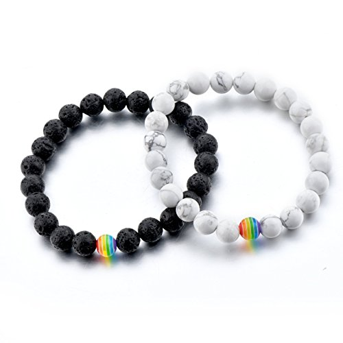 (LGBT Relationship Bracelet | 2 Pieces | White Howlite, Black Lava Rock, Rainbow Resin | Oil Diffuser Beads | Gay Couples Strong Cord | Handmade | Love is Colorful)