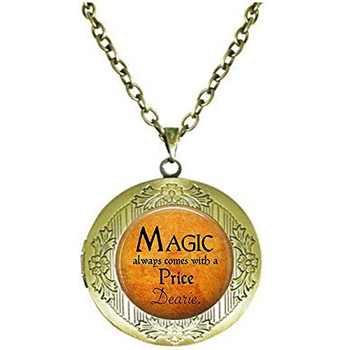 Halloween Costume Jewelry-Magic Always Comes a Price Dearie-Rumpelstiltskin Quote-Once Upon a Time-Magic Spell Locket Necklace Literary Jewelry -