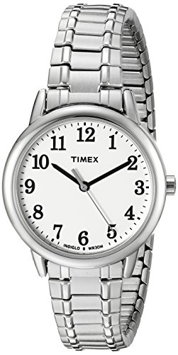 Timex Women's TW2P78500 Easy Reader Silver-Tone Stainless Steel Expansion Band Watch ()