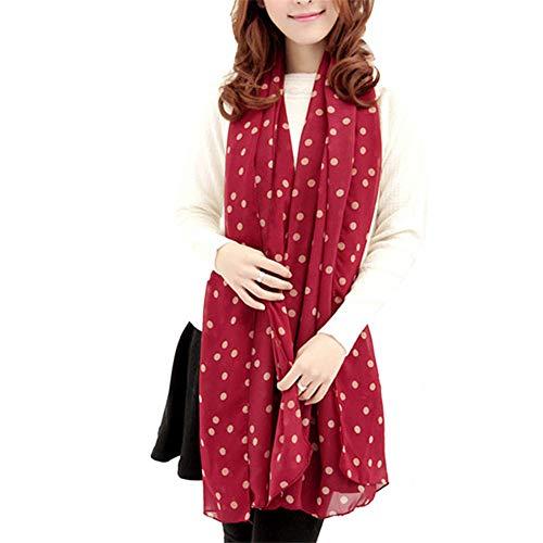 YOMXL Fashion Chiffon Scarf,Vintage Style Polka Dots Lightweight Scarf One Size Spring Winter Oblong Scarves Shawl