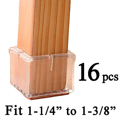 HYhome Chair Leg Caps Floor Protectors with Felt Pads Square Furniture Table Feet Covers Silicone Pads Fit 1-1/4 to 1-3/8Inches Transparent Clear,16 Pack