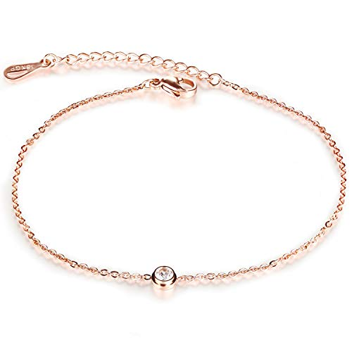 Fesciory Women Stainless Steel Anklet Rose Gold Adjustable Beach Ankle Foot Chain Bracelet Jewelry Gift