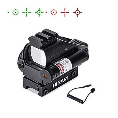 Hiram 1x22x33 Holographic Red Dot Reflex Sight 4 Reticles Adjustable Brightness with Gun Sight Laser for Picatinny Weaver Rail