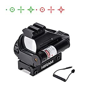 Hiram 1x22x33 Holographic Red Dot Reflex Sight 4 Reticles Adjustable Brightness with Gun Sight Laser for Picatinny Weaver Rail