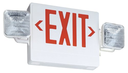 Lithonia Lighting ECR LED M6  Thermoplastic LED Emergency Exit Sign & Light Fixture with Red Letters