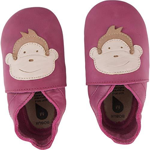- Bobux Soft Sole Monkey Dark Pink Leather 9-15 Months