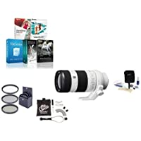 Sony 70-200mm f/4.0 G OSS E-Mount NEX Camera Lens Bundle with Filters, FocusShifter & Software