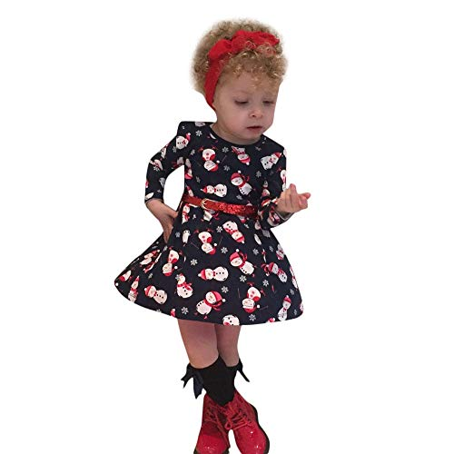 (Fheaven Baby Girls Christmas Party Princess Costume Snowman Slim Dresses with Belt Holiday Xmas Baby Gift (3-4Years, RED))