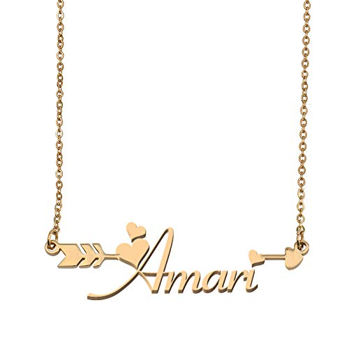 - Aoloshow Customized Custom Name Necklace Personalized - Custom Amari Initial Name Arrow Horizontal Monogrammed Necklace Gift for Womens Girls