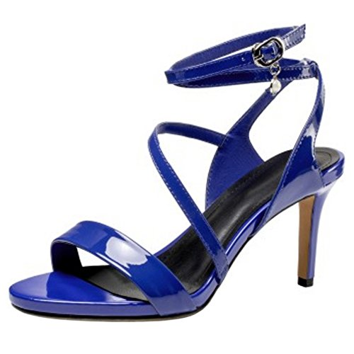 Thin 5cm Blue Fashion 7 Cross Women Sandals Coolcept Heel Strap AOxfwqH1