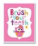 The Kids Room by Stupell Brush Your Teeth With Owl On Pink Back Background Rectangle Wall Plaque, 11 x 0.5 x 15, Proudly Made in USA