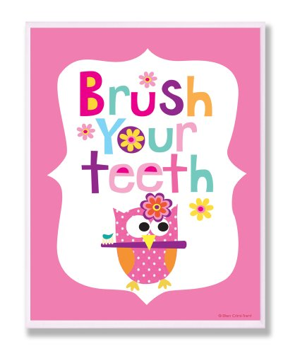 The Kids Room by Stupell Brush Your Teeth With Owl On Pink Back Background Rectangle Wall Plaque, 11 x 0.5 x 15, Proudly Made in USA by The Kids Room by Stupell