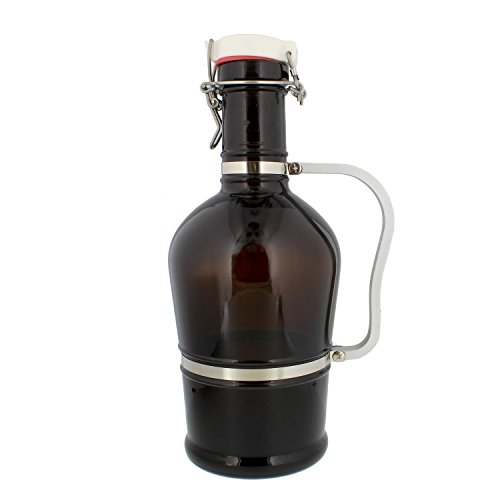 G Francis Amber Glass Growler, 2 Liter (Half Gallon / 64 oz) Beer Jug w/Swing Lid - Secondary Fermentation, Carbonation, Storage
