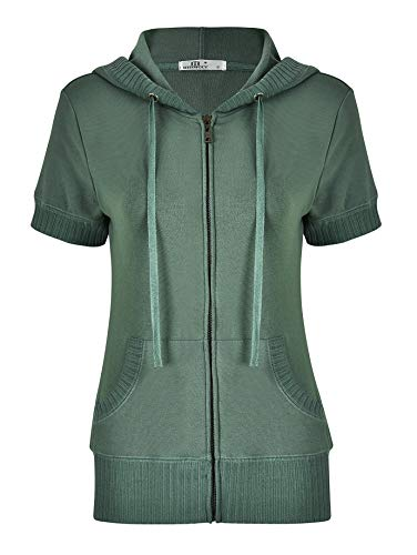 (MISS MOLY Zip up Hoodies for Women Lightweight Short Sleeve Jackets Casual Sweatshirt Biker Outfit with Pockets Green-S)