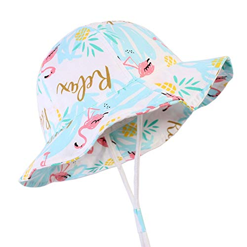- Baby Toddler Sun Protection Hat Cotton Boys Animal Bucket with Chin Strap Adjustable Wide Brim Caps (Flamingo, S(6-12M))