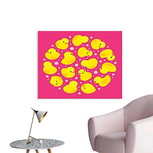 J Chief Sky Rubber Duck Canvas Painting Post Fun Baby Duckies Circle Artsy Pattern Kids Bath Toys Bubbles Animal Print Decal Stickers W32 xL24