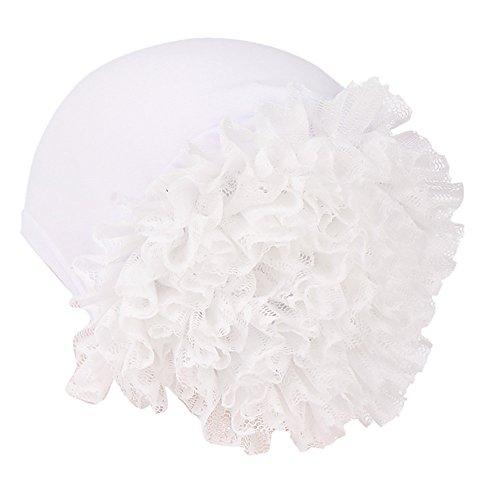 (EnjoCho✿✿New Woman Big Flower Turban Elastic Cotton Blend Hair Bands Hat Chemo Beanie Ladies Muslim Scarf Hair Accessories (White))