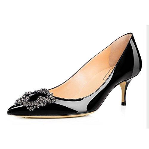 pour Verni de Talon Femmes Noir Le orné de Boucles Chaton Chaussures Orteil Mariée de Mariage Pointu BgSgw